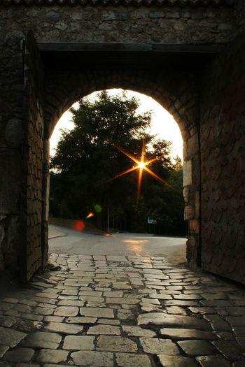 Sunrise in Ohrid, as seen from Gorna Porta Framed Flares Sun Flares Tree Old Path Sunrise_sunsets_aroundworld