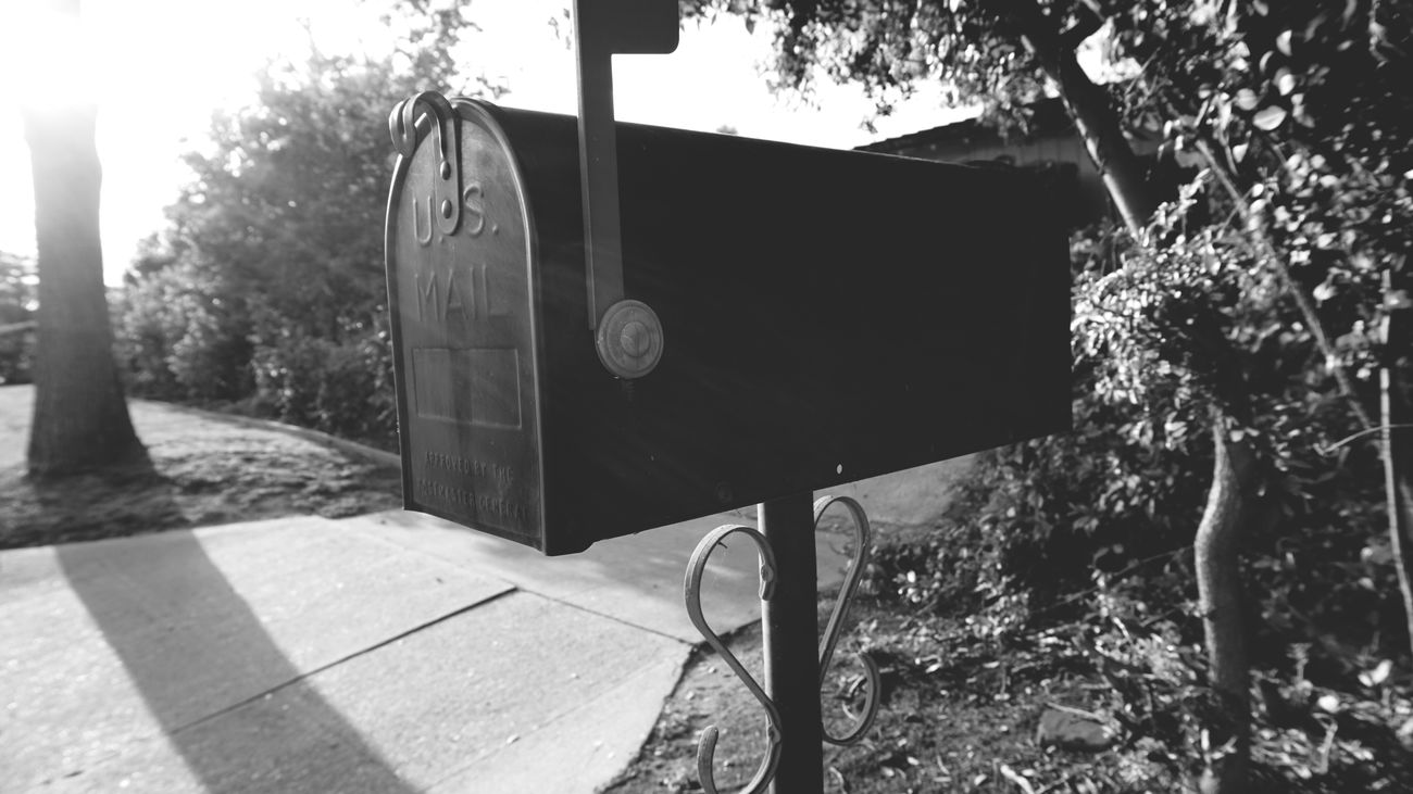 Sunlight Mailbox Outdoors Focus On Foreground Light And Shadow Blackandwhite USA Mail Neighborhood