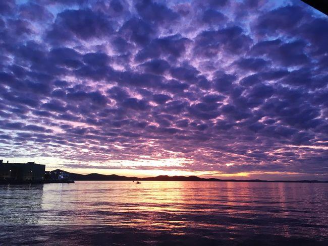 Sunset Sunset_collection Purple Sky Purplesky Water Reflection Beauty In Nature Idyllic Croatia Zadar