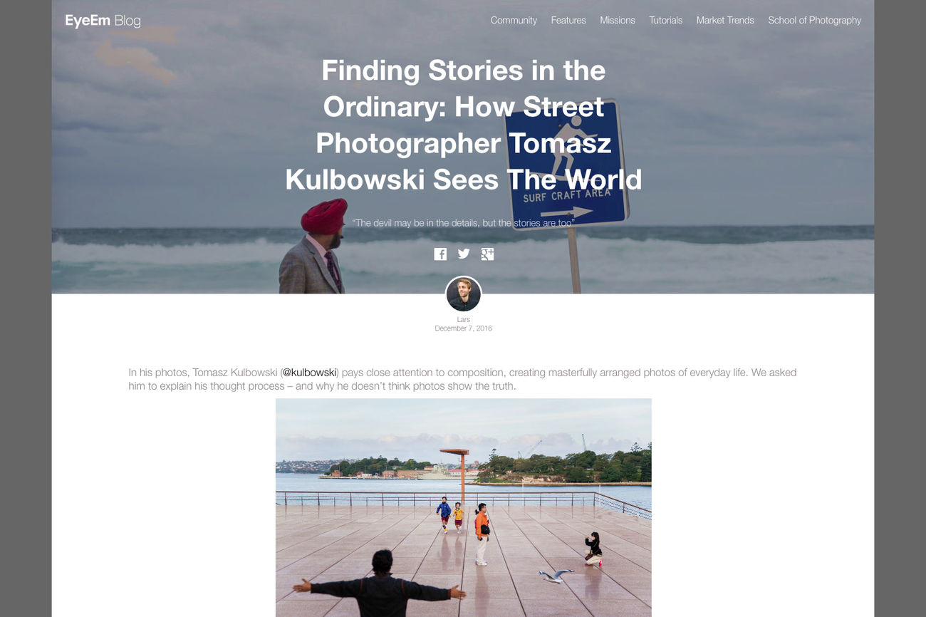 Recently I had a pleasure of talking to Lars of EyeEm team about my street photography work, my creative approach and photography in general –have a look at the interview on the EyeEm blog: https://www.eyeem.com/blog/2016/12/how-street-photographer-tomasz-kulbowski-uses-composition/. I also tried to give some practical advice, hope you find it useful! Let me know in the comments if you have any questions, I'm always happy to discuss photography :) Blog Documentary Photography EyeEm Eyeem Featured Photographer Feature Finding Stories Fotografia Uliczna Fotografía Urbana Interview Journalism Kulbowski Ordinary  Photography Practice Photojournalism Reading Storytelling Street Photography Streetphoto Streetphoto_color Streetphotographer Streetphotography Text Theory Tomasz Kulbowski Visual Language