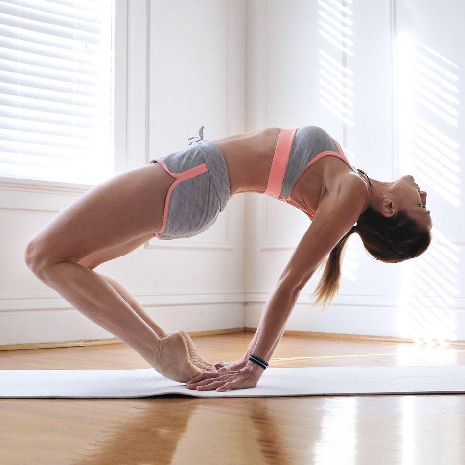 Beautiful stock photos of yoga, 45-49 Years, Balance, Bending, Bending Over Backwards