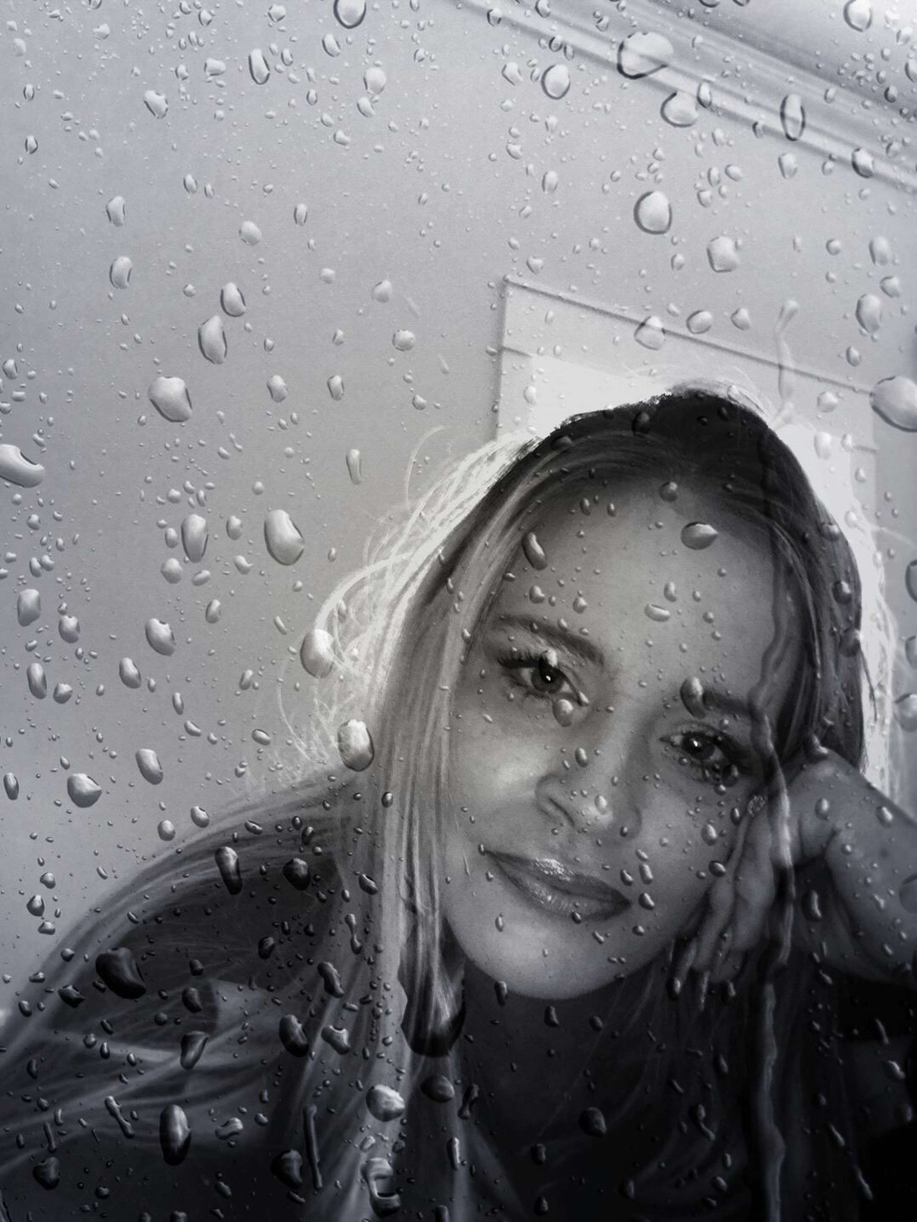 wet, drop, rain, water, headshot, close-up, one person, raindrop, real people, day, young adult, indoors, young women, people