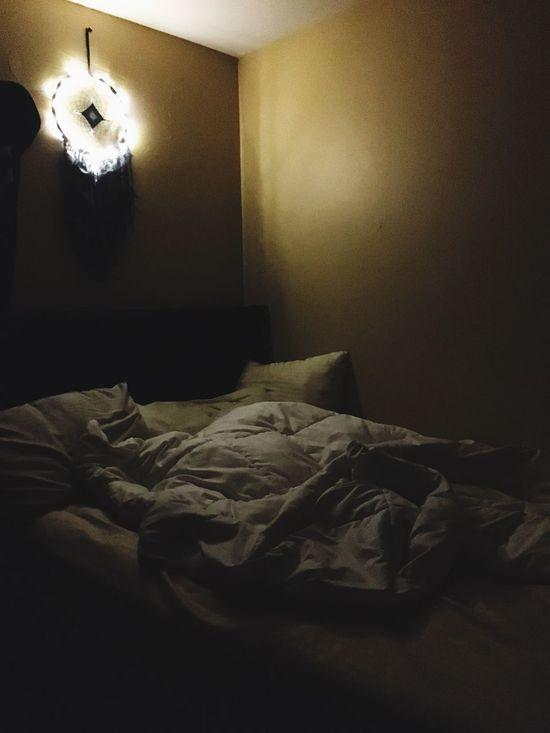 Indoors  Bedroom Bed Home Interior No People Day Light Gods Eye Dream Catcher Fairy Lights Tree Lights Night Sleepy Messy Soft Tired