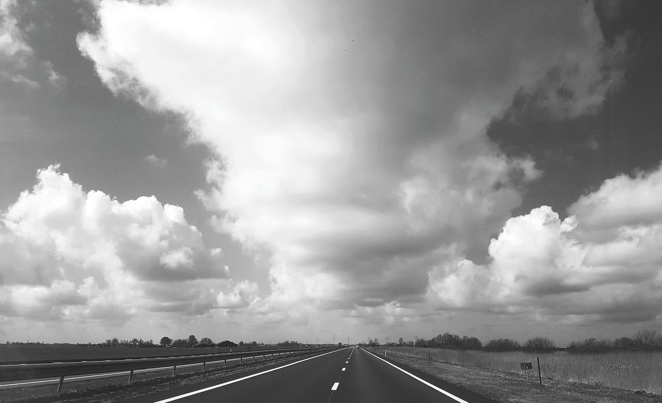 On the road again (please your opinion about the b&w 🤔) Cloud - Sky Storm Cloud Outdoors Let's Go Outside Landscape Sky On The Road Dutch Landscape Clouds Betterlandscapes Clouds And Sky Day Meadow Driving Around Roadway Car Black And White Opinion