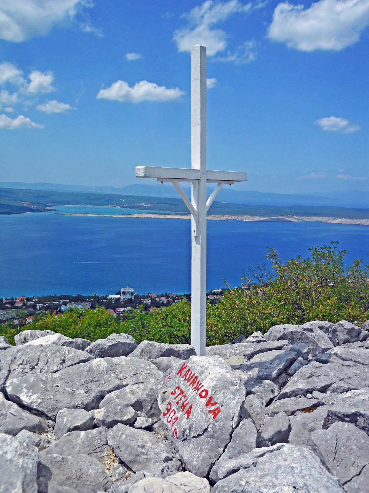 Love Road,Kavranova stena,view down to the coast,Crikvenica,Croatia,Europe,8 Adriatic Coast Crikvenica Croatia Cross Crucifix Day Eu Europe High Highclimbing Holydays Horizon Over Water Kavranova Stena Love Road Outdoors Peak Recreation  Rock Scenics Sea Solitude Summer Symbol Tourism Vacations