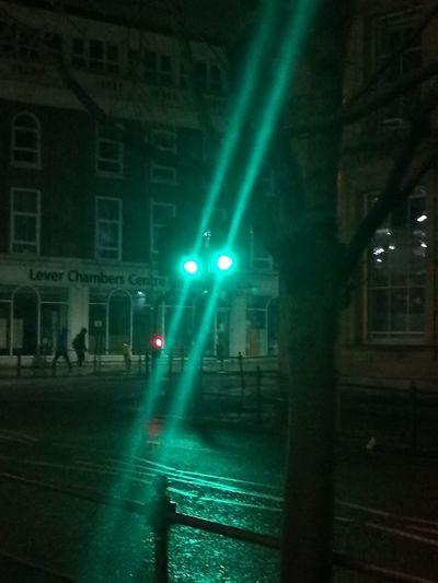 Martian  Green Eyes Traffic Lights Illuminated Night Stoplight City Street City Building Exterior City Life