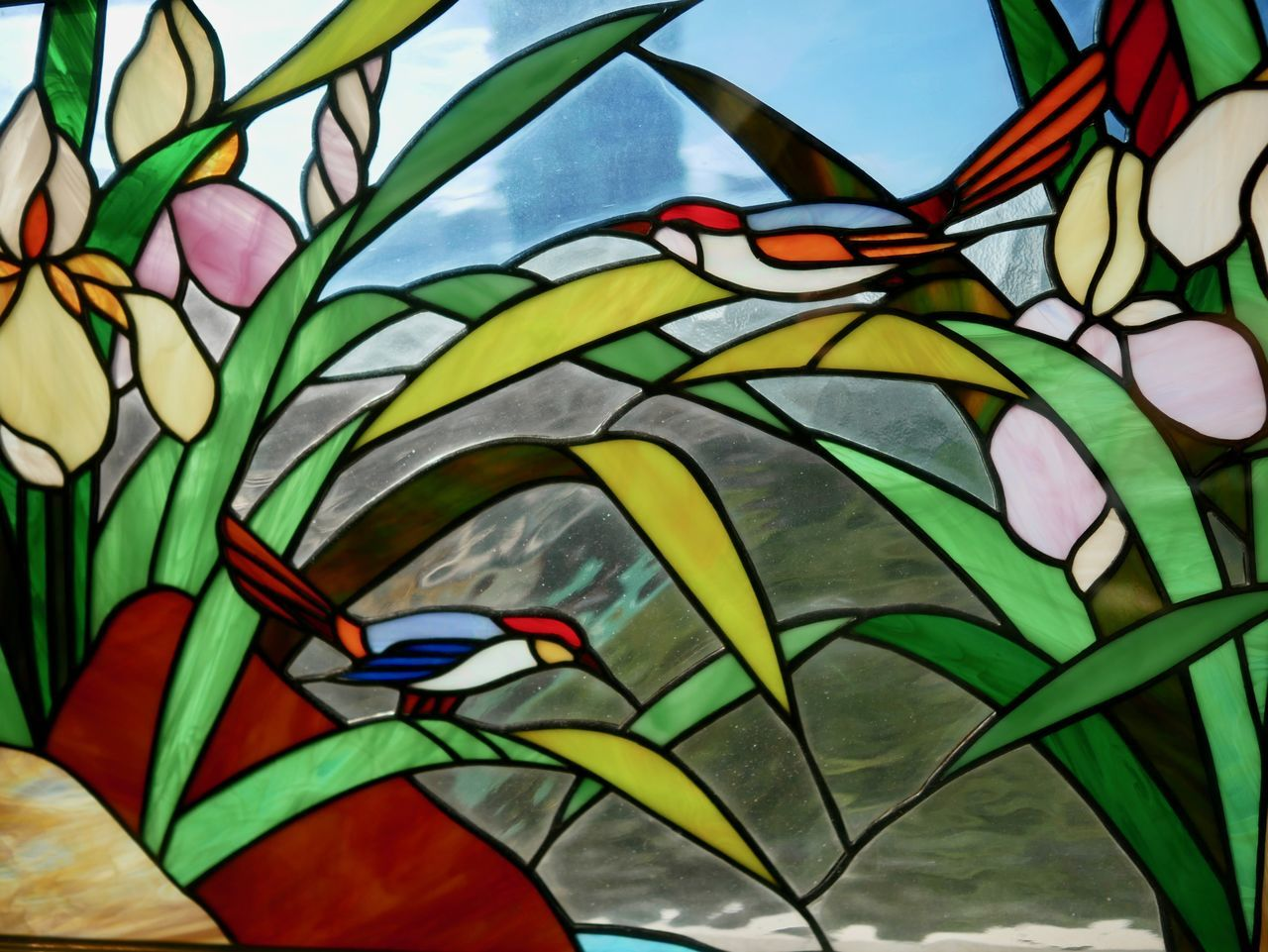 Close-up Day Glass Glass - Material Leaf Multi Colored No People Stained Glass Window Urban Windows Adapted To The City