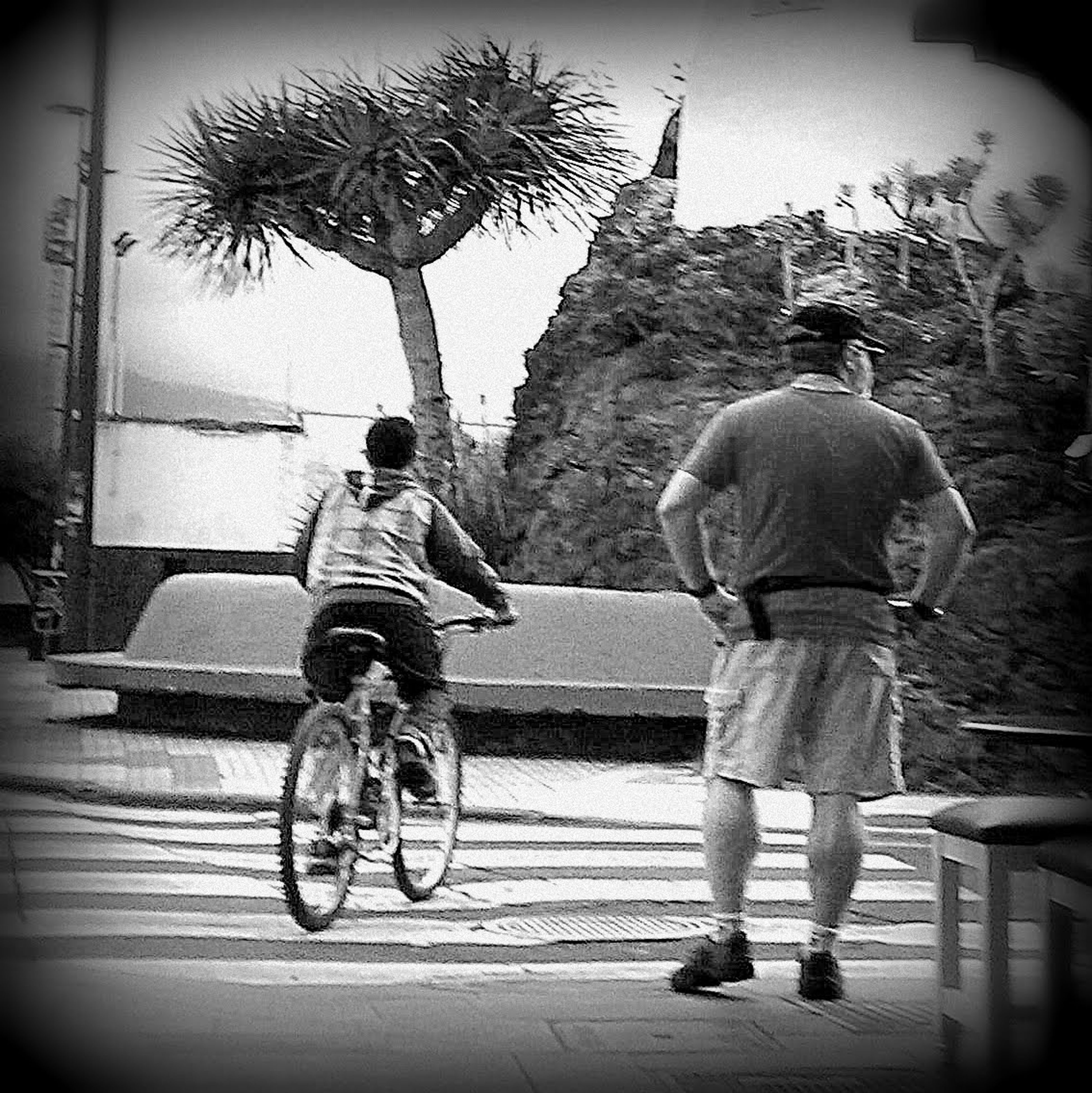 full length, bicycle, transportation, lifestyles, land vehicle, riding, mode of transport, tree, leisure activity, street, men, road, casual clothing, cycling, side view, shadow, rear view