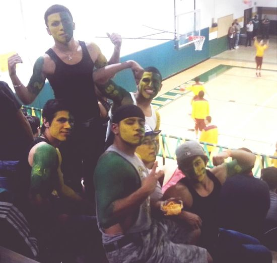 Football players supporting the basketball boys ^_^