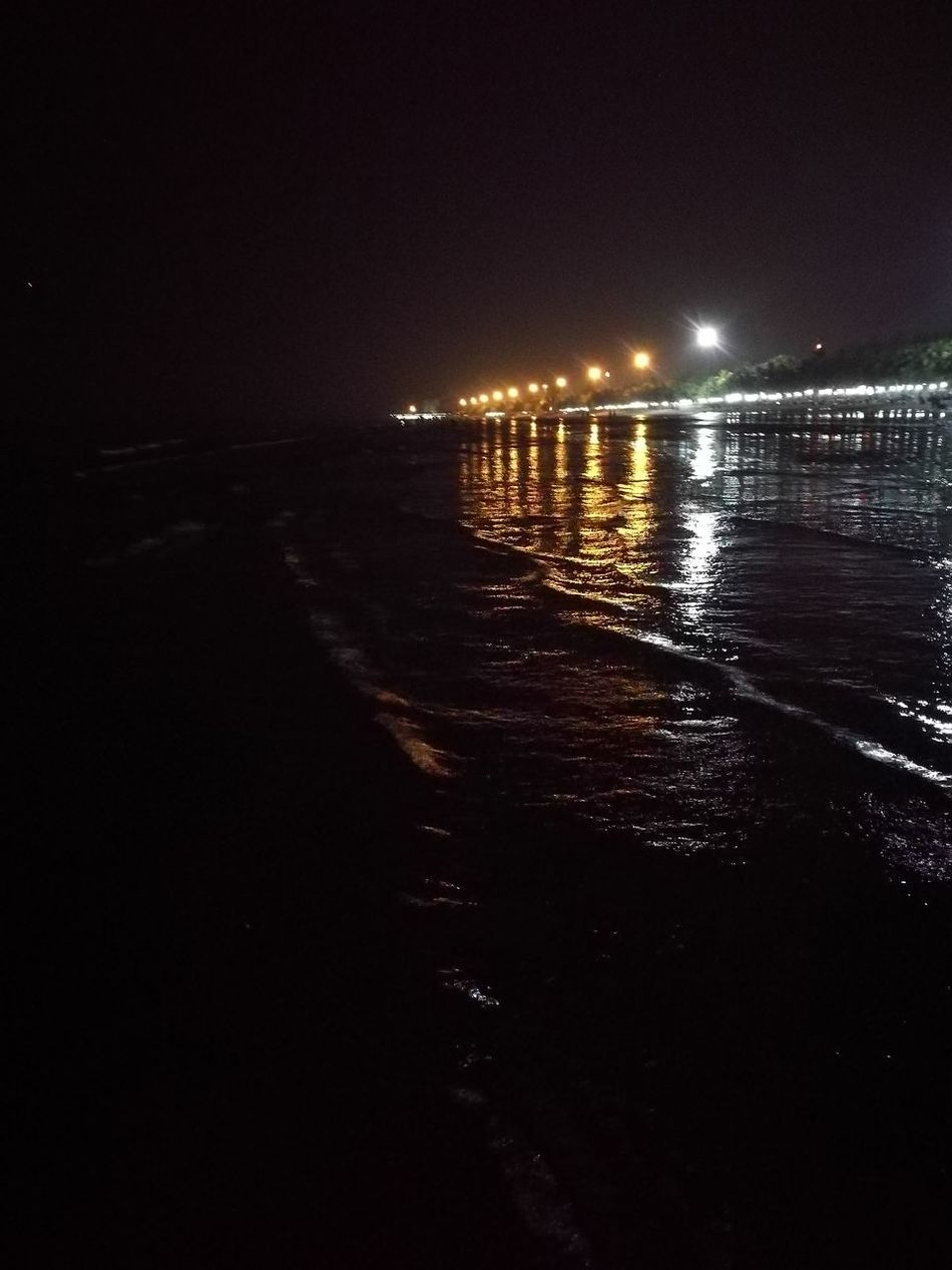 Water Illuminated Reflection Night Sea Outdoors Scenics No People Nature Beauty In Nature Sky
