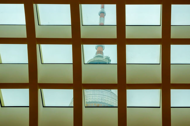 Fernsehturm Full Frame Geometric Shape Glass Glass - Material Indoors  No People Television Tower Transparent TV Tower Window Window Frame