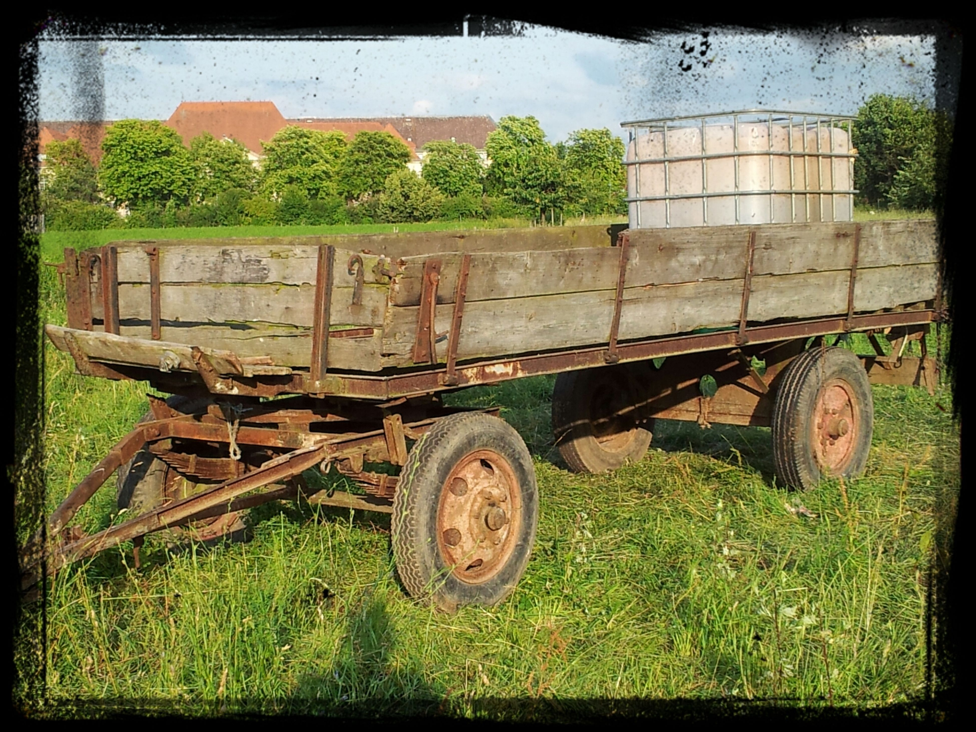 abandoned, grass, field, transfer print, obsolete, old, auto post production filter, built structure, building exterior, damaged, plant, architecture, rural scene, run-down, agriculture, deterioration, growth, green color, grassy, land vehicle
