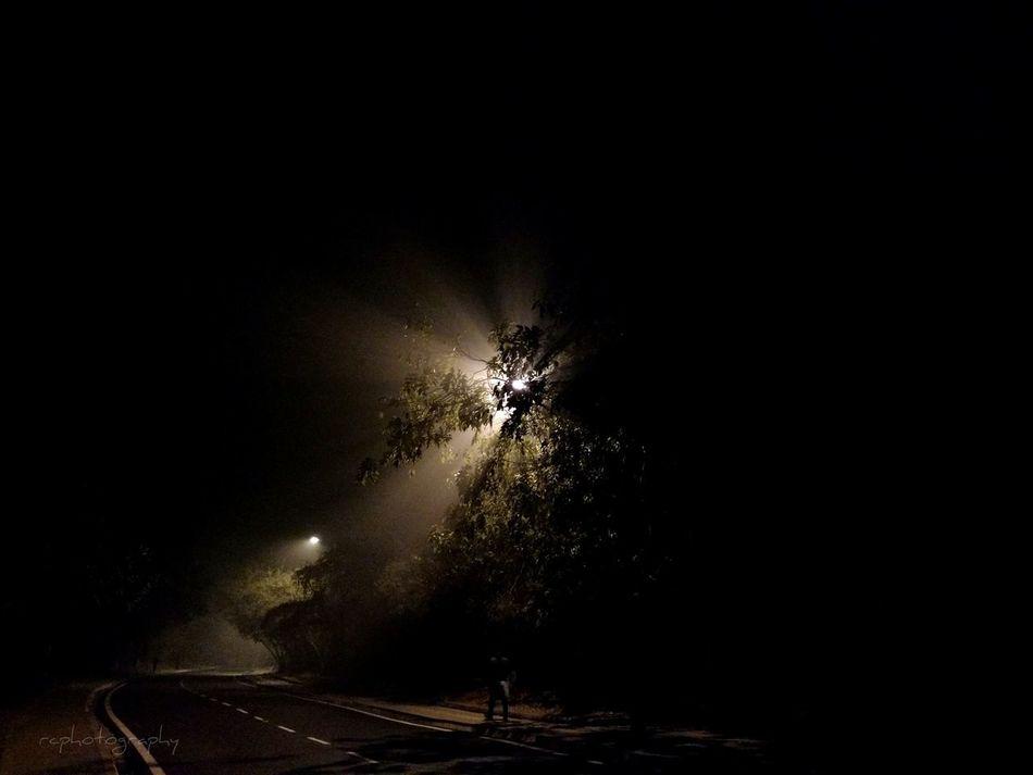 Night Illuminated Outdoors Light Rays Foggy Mobile Photography