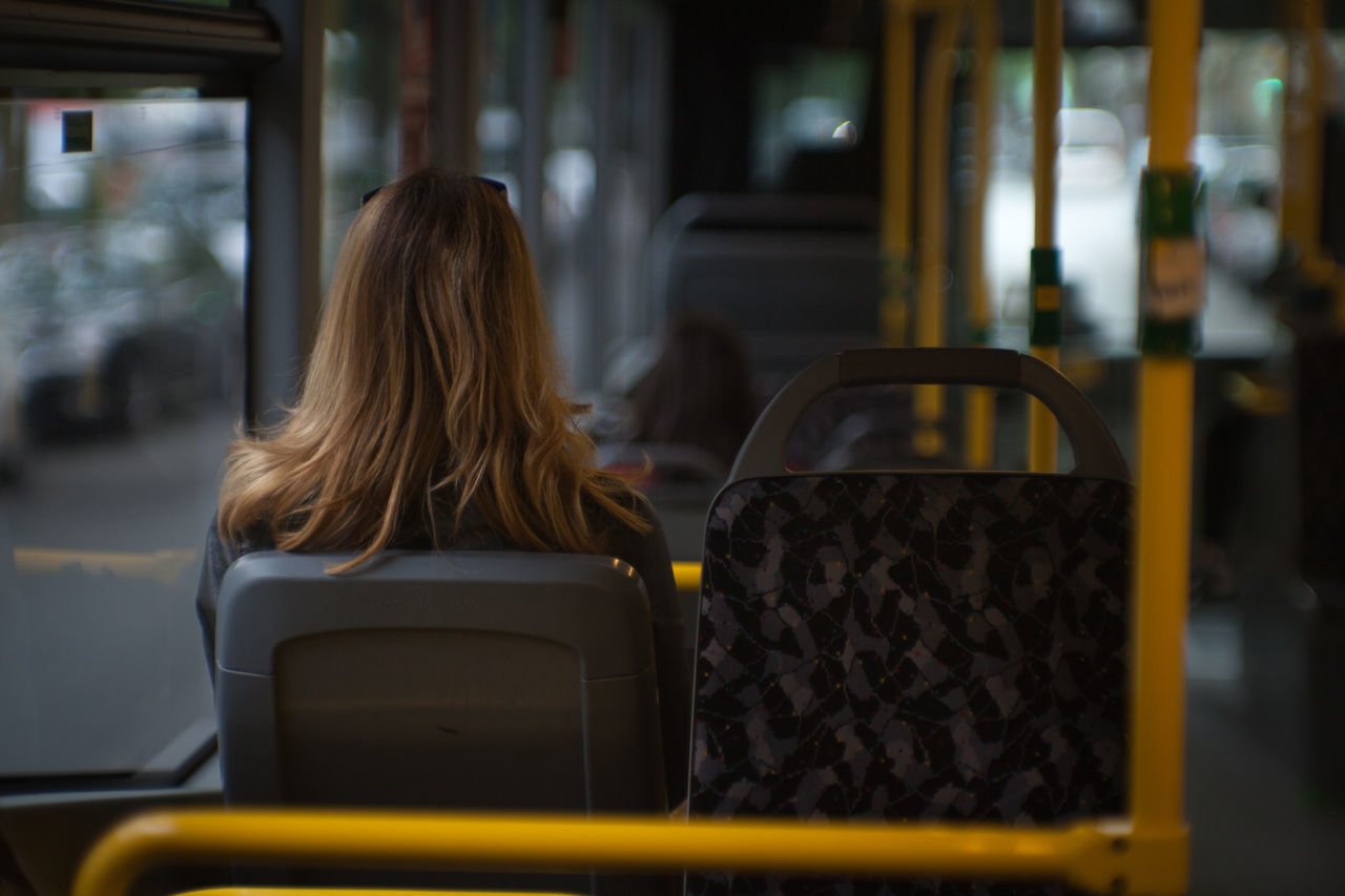 Bus Day Focus On Foreground Indoors  One Person Public Transportation Real People Rear View Sitting Transportation Vehicle Seat Women