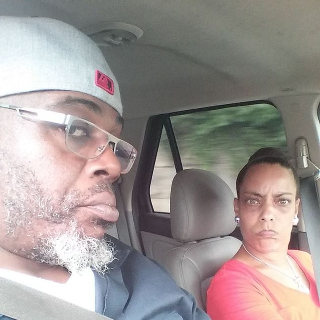 This is my wife's face when I take selfie and drive. Madwife