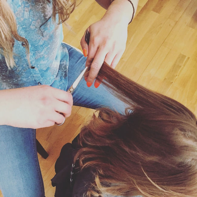 Little girl for the first time in the hairdressers Barber Beauty Child Close Up Close-up Cute Fashion First Girl Hair Haircut Hairdresser Hairdressing Hairstyle Holding Kid Lifestyles Little Person Professional Salon Skill  Small Style Toodler