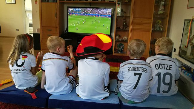 Football Fever Kids Having Fun Watching Tv Children Fans GermanyEuropian Championship Fußball EM 2016 Black Red Gold People Together Fashion EyeEm Gallery People And Places