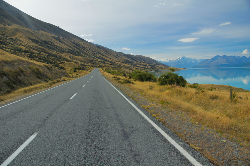 Adventure Asphalt Country Road Empty Road Lake Landscape Mount Cook Mountain Mountain Range Nature Nature New Zealand New Zealand Scenery Road Scenics The Way Forward Travel Traveling Wanderlust The Great Outdoors - 2016 EyeEm Awards