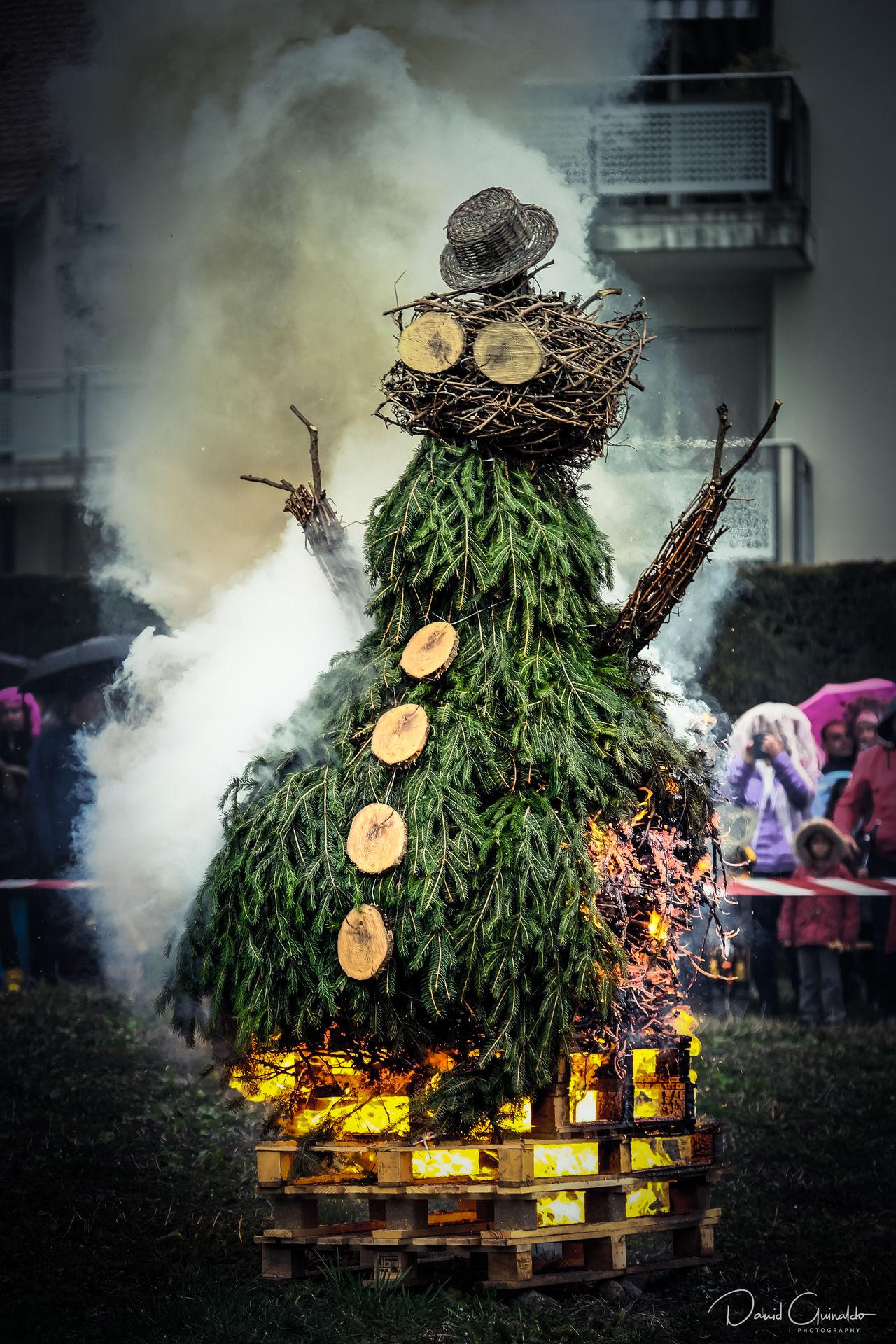 Burning Burning Winter Man Carnaval Fire Humanoid Outdoors Smoke Smoke - Physical Structure Winter