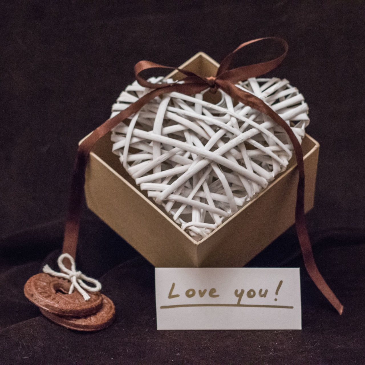 Valentine's day decoration Background Box Brown Celebration Confession Cookies Heart Heart Shape Holiday Love No People Ribbon Valentine's Day  Valvet White