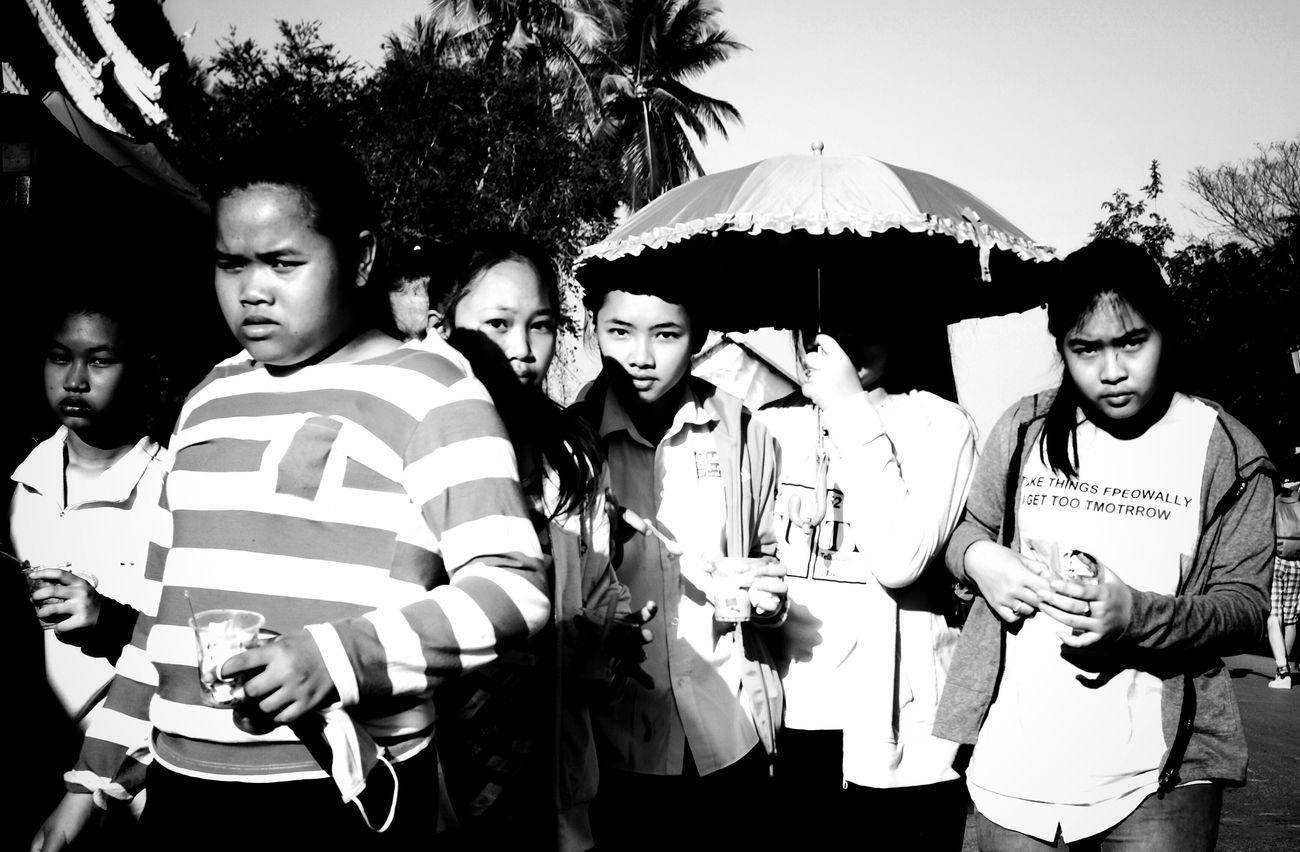 Blackandwhite Black And White Blackandwhite Photography Street Streetphotography Street Photography Streetphoto_bw Girls Friends Friendship Looking At Camera Looking For Trouble Real People Luang Prabang Luangprabang Luang Prabang, Laos People Photography