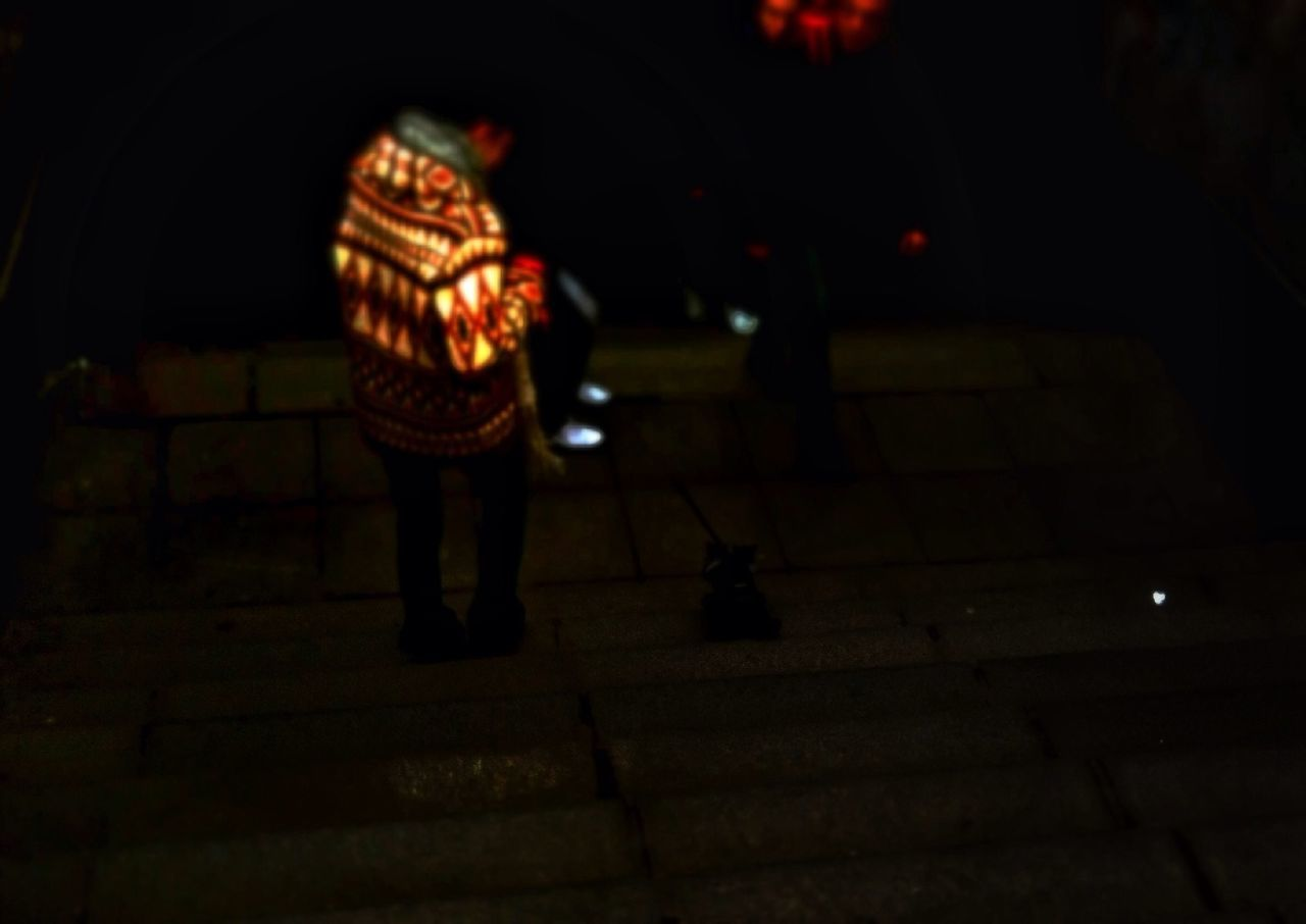 night, illuminated, full length, one person, standing, outdoors, lantern, christmas decoration, real people, people