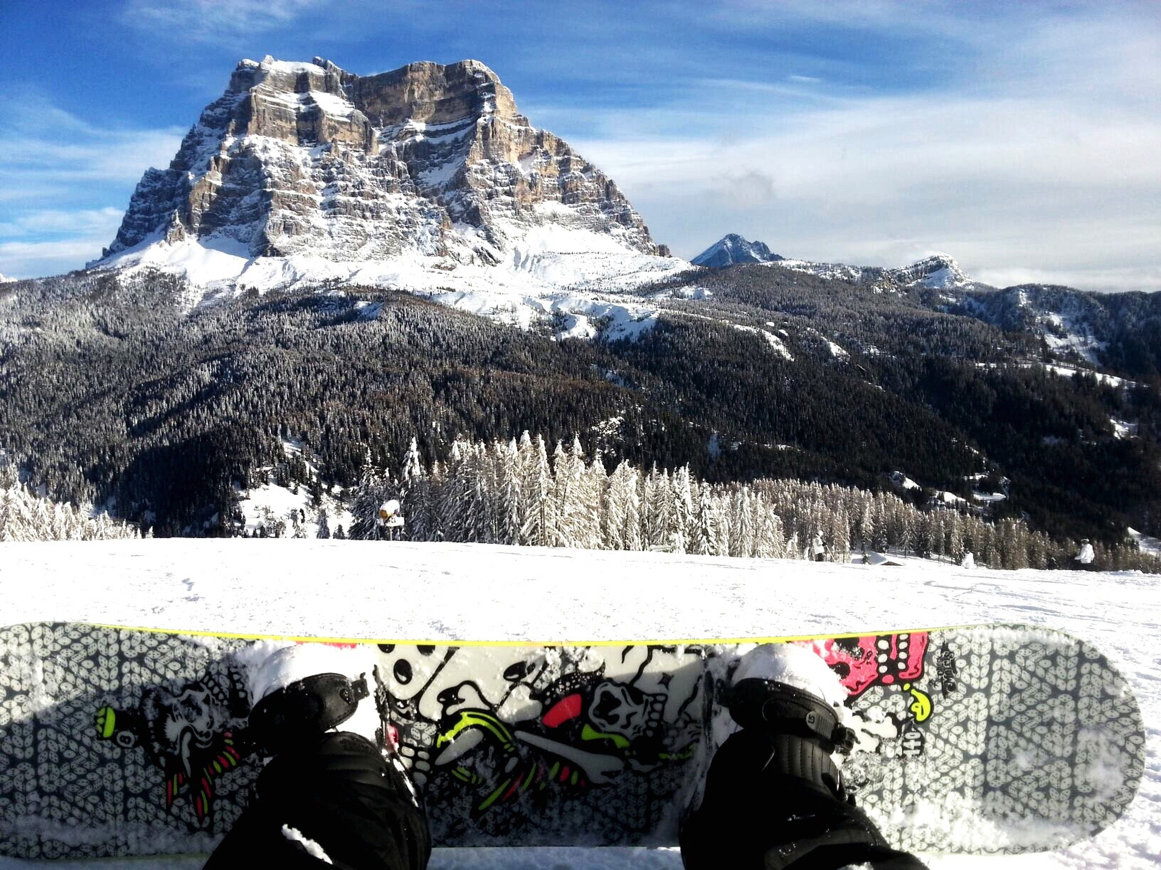 snow, cold temperature, winter, mountain, season, lifestyles, men, leisure activity, low section, shoe, sky, weather, standing, mountain range, personal perspective, unrecognizable person, nature, person
