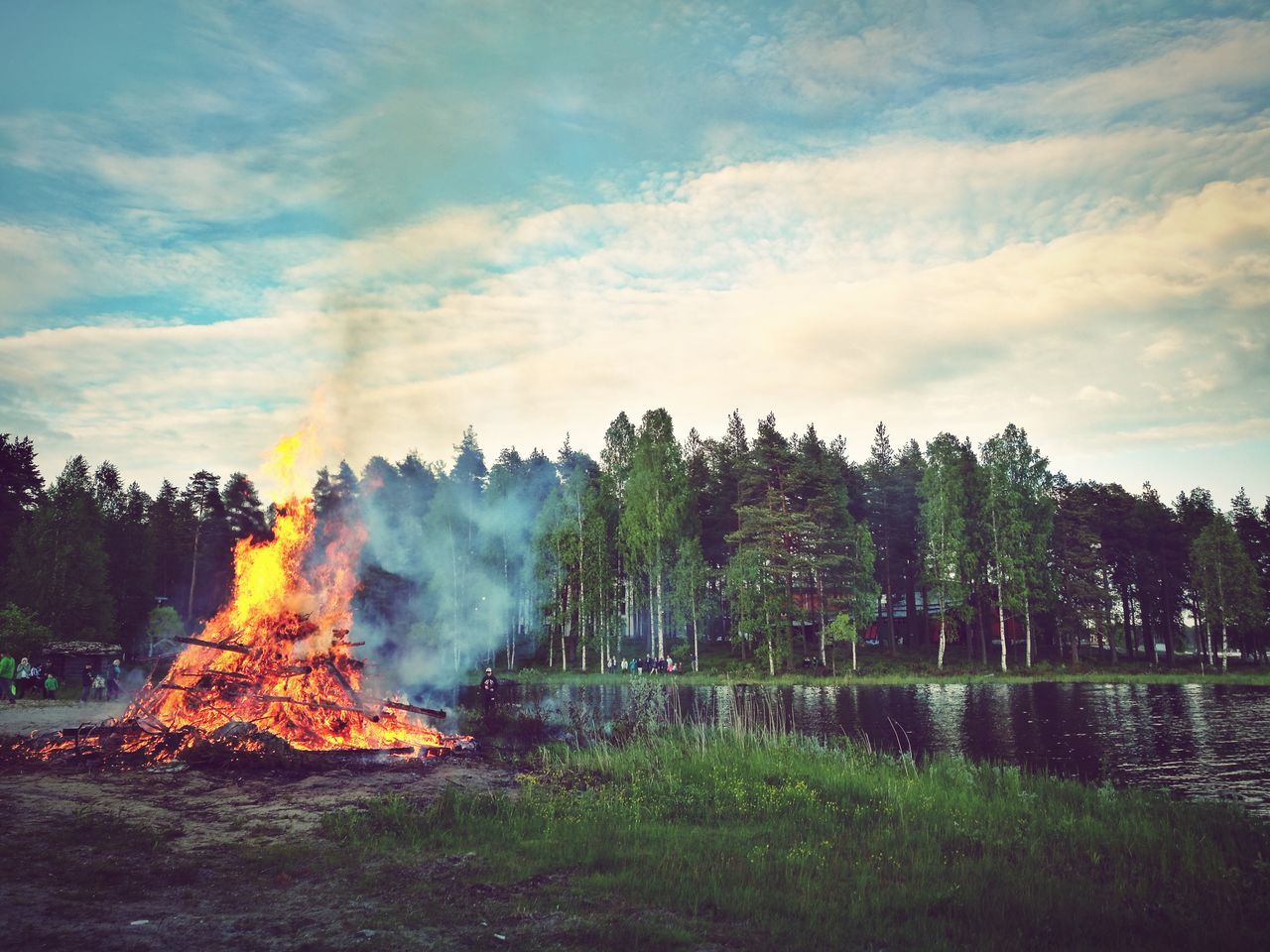 Tree Heat - Temperature Cloud - Sky Outdoors Water Nature Day People Bonfire Midsummer Night Midsummer Finnish Lifestyle Life In Finland