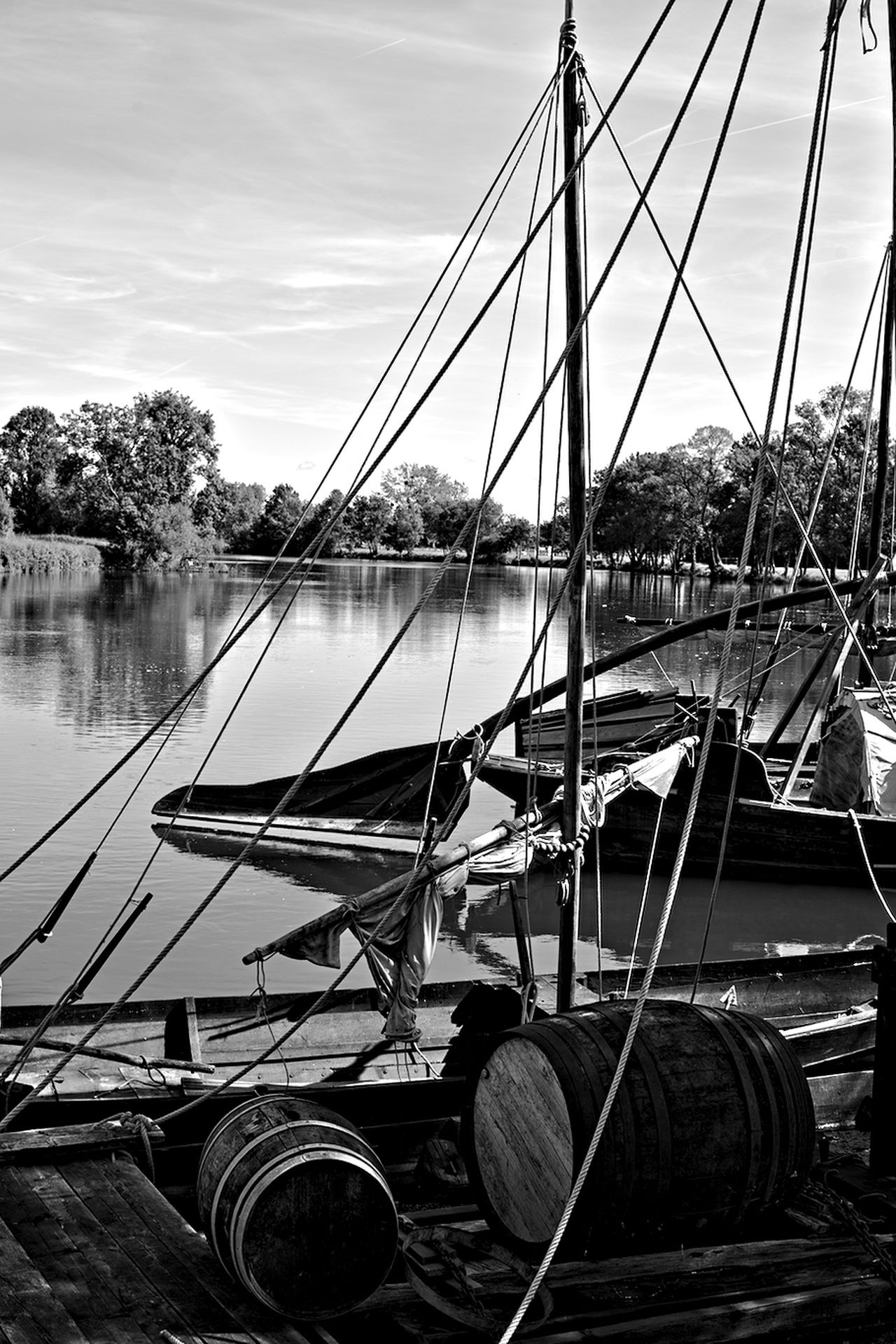 Blackandwhite Blackandwhite Photography Day Mode Of Transport Moored Nature Nautical Vessel No People Outdoors River River View Sky Transportation Tree Water