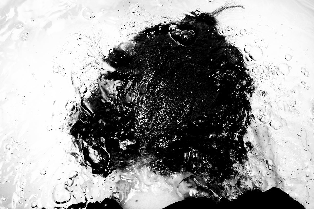 water, bubble, human hair, real people, wet, motion, one person, indoors, day, close-up, dissolving, people