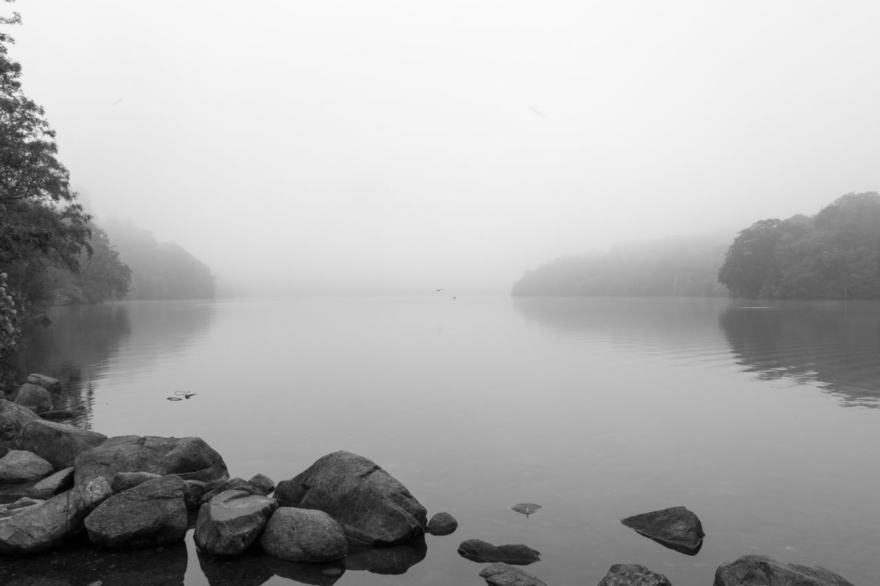 Water Lake Fog Outdoors Day No People Tranquility Nature Sky Beauty In Nature Mist
