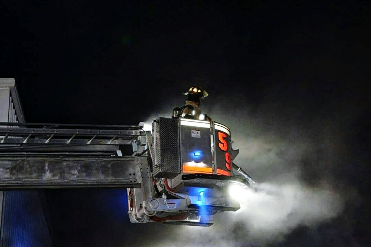 Arial night training. The Calling Always Ready Firefighter Apparatus Arial Training Ladder No Days Off
