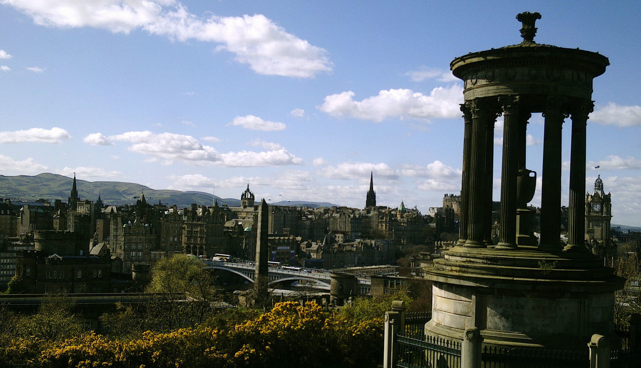 Scottish Philosopher Calton Hill City Edinburgh Memorial Monumento De Dugald Stewart Scotland Sky
