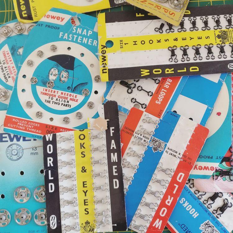 Poppers Vintage Packaging Eyelets Hook And Eye Fastenings Vintage Packaging Multi Colored Close-up