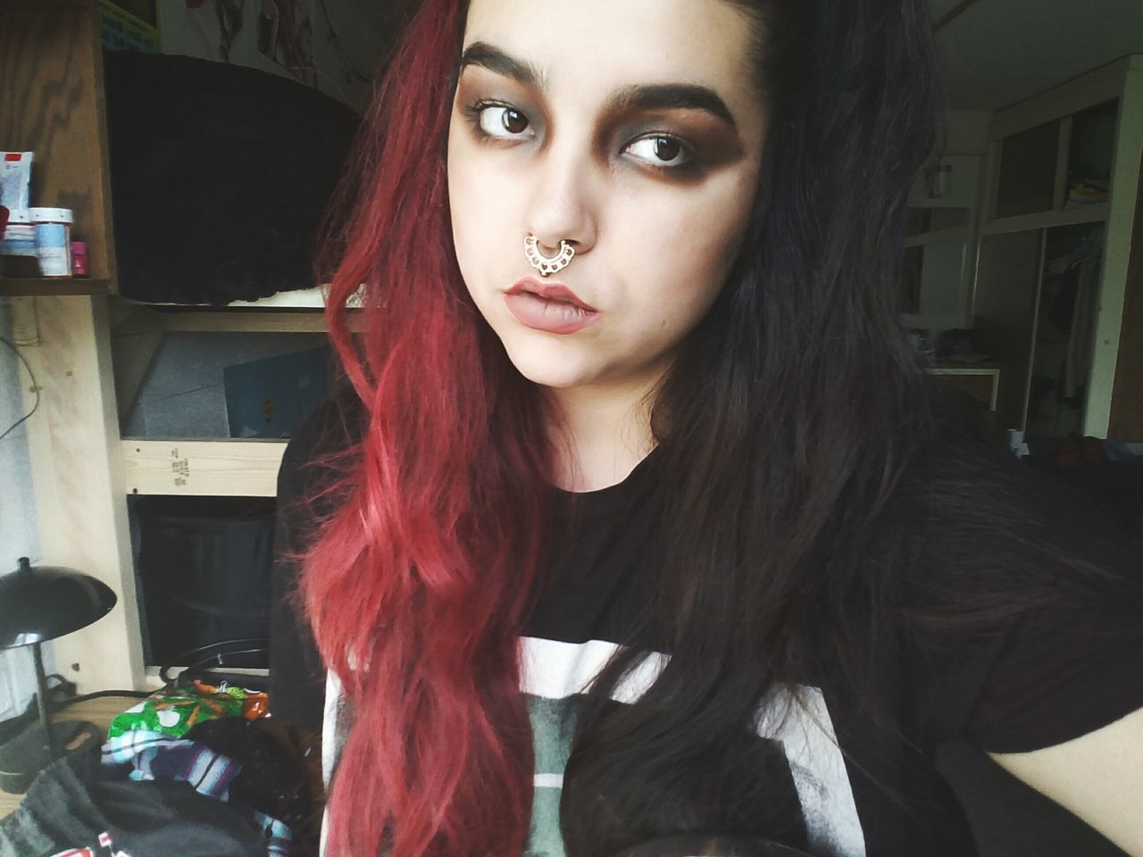 So write it down, I'm not using my lungs anymore. This is the last time, write it down. I won't be your voice anymore. Goth Goth Nu Goth Gothic Darklings Alternative Girls Black And Red Selfie ♥ Underøath Dorm Life Edgy Tattooed Piercings College Half Head