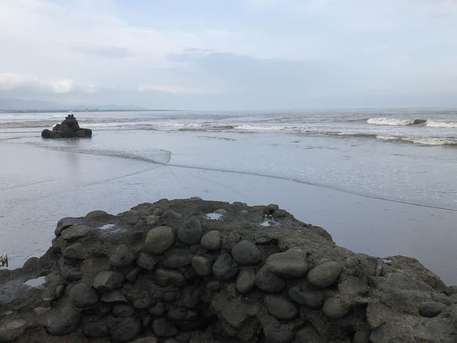 Bali, Indonesia Beach Beauty In Nature Black Sand Day Horizon Over Water Nature No People Outdoors Rock - Object Scenics Sea Sky Tranquil Scene Tranquility Water
