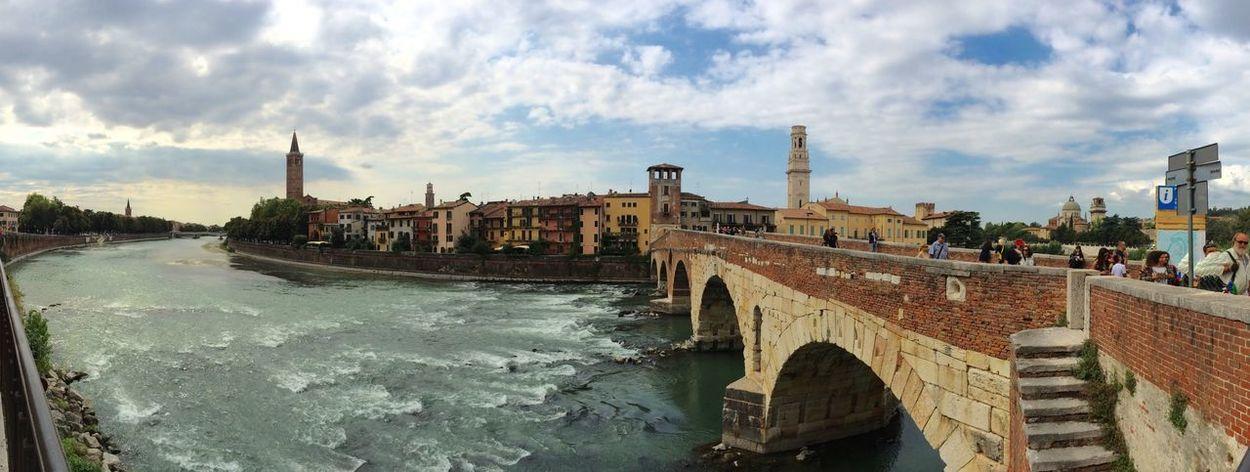 Verona Italy Adige River Bridge Clouds And Sky Ponte Pietra