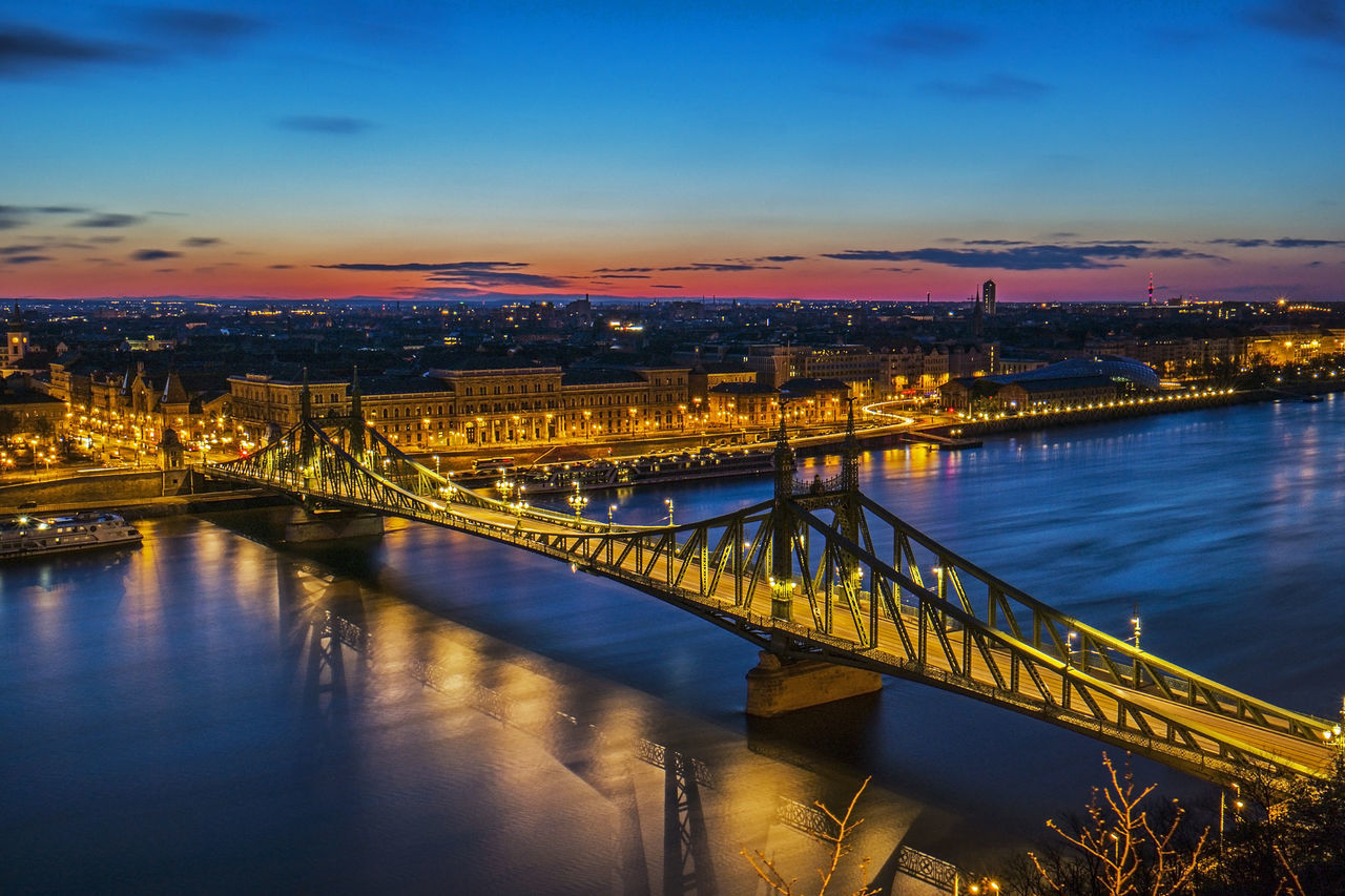 Architecture Architecture Bluehour Bridge Bridge - Man Made Structure Budapest Built Structure City City Danube Embankment Engineering Europe Gr Hungary Morning Riccsi River Sunrise Water Waterfront
