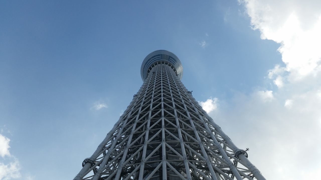 Architecture Blue Built Structure City Cloud - Sky Day Japan Low Angle View No People Outdoors Sky Skytree Town Tokyo Tokyoskytree