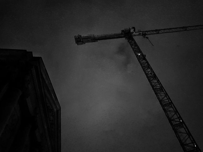 Architecture Black And White Built Structure Construction Crane Low Angle View Outdoors Silhouette Sky