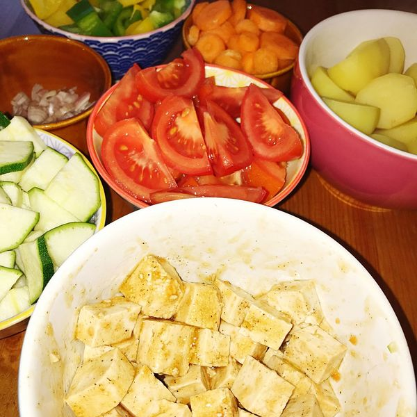 Sliced Zucchini Potatoes Tomato Preparing Food Cooking Tofu Food And Drink Food Bowl Freshness Healthy Eating Still Life SLICE Indoors  No People Vegetable
