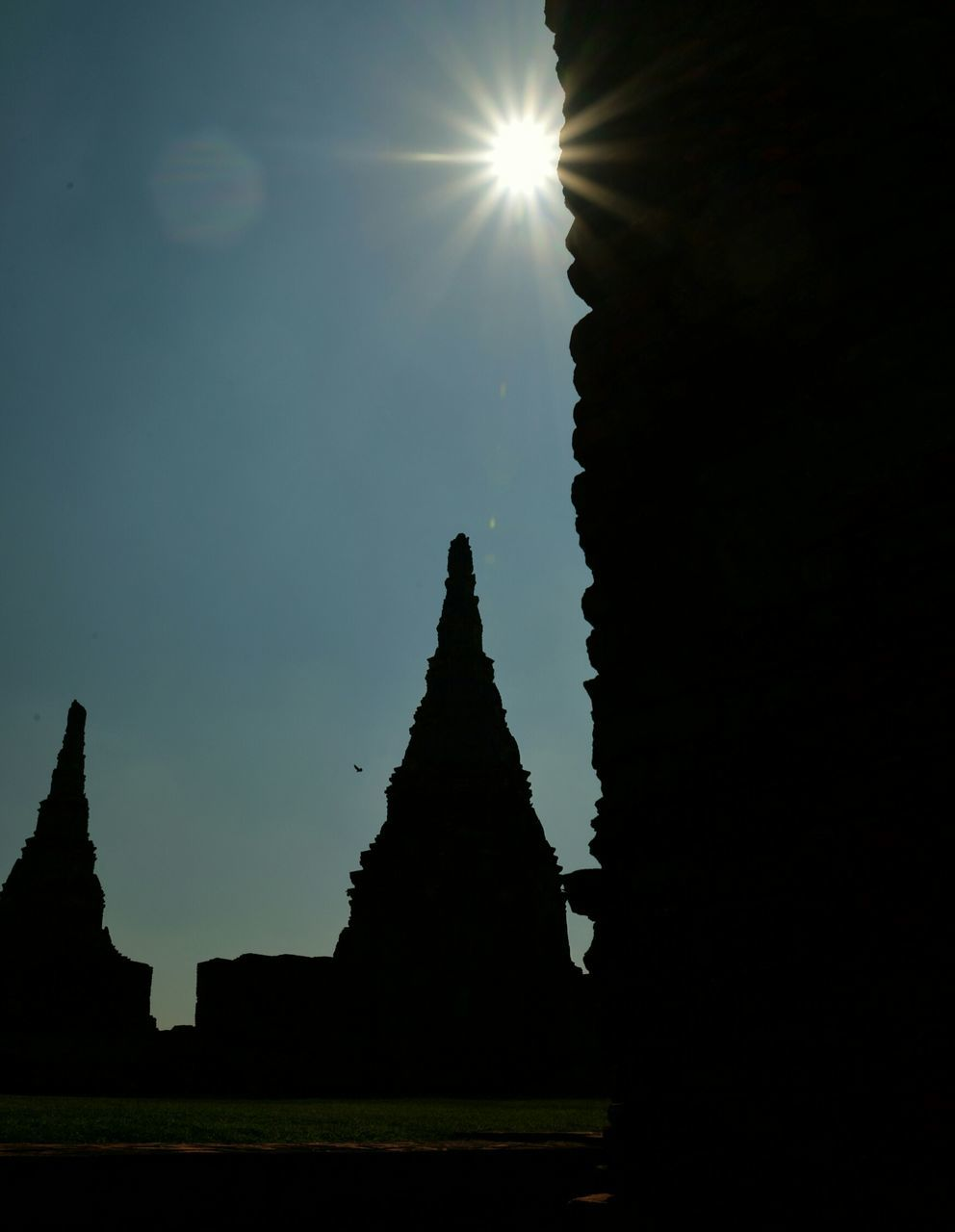 Silhouette Temples Against Clear Sky