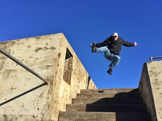 Jumping Man Jumping Jump Jumping Man Lookingup Action Action Shot  Marin Headlands Fort Baker Blue Sky Having Fun Stairs Bunker Want To Fly Cool Moves Taking Photos Enjoying Life Iphone6