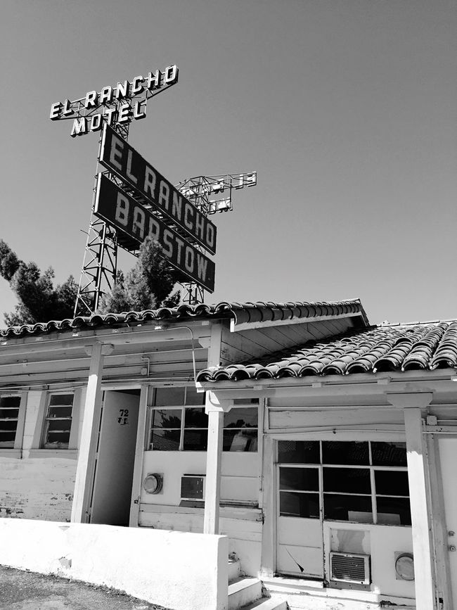 """Route 66 Classic"" Famous El Rancho Motel on historic Route 66 in Barstow, California, USA. Motel Route 66 Route66 Barstow Historical Building Historical Historical Place Blackandwhite Black & White Blackandwhite Photography"