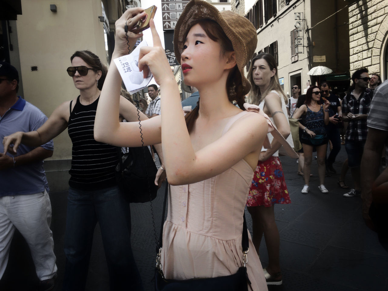 The tourists in the streets of Florence. Candid Firenze Firenze, Italy Florence Hat Hats Heat - Temperature Passing By People People And Places People In The Streets People Photography People Watching Street Photography Summer Summertime Tourism Tourists Tourists In Florence Woman