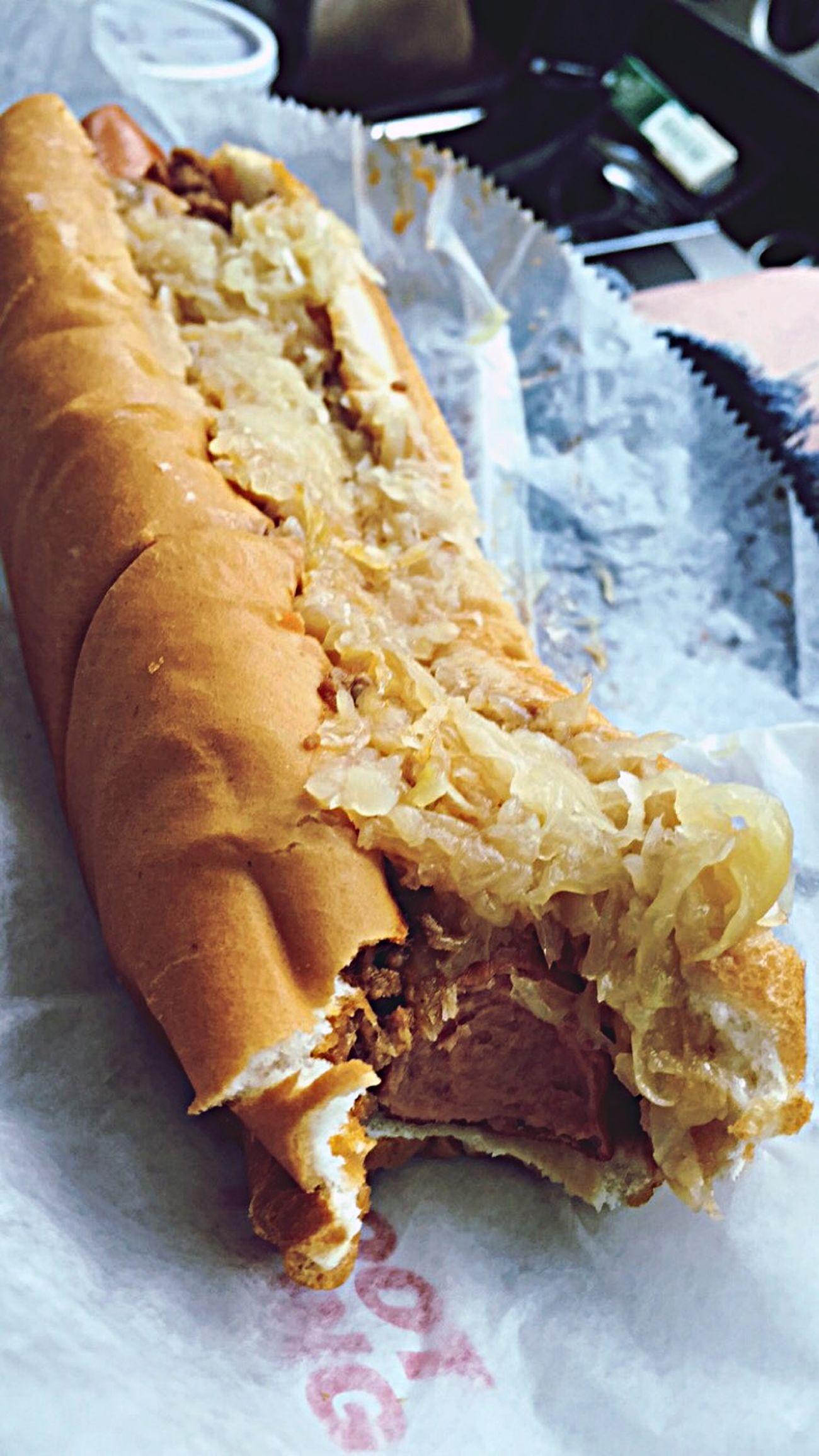 Footlong HotDog Food Foodphotography Ilovefood Sauerkraut Chili  Delicious