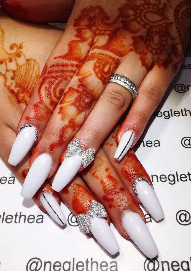 Acrylic Acrylicnails  White Silver  Bowtie New Nails Long Nails Eid Mubarak