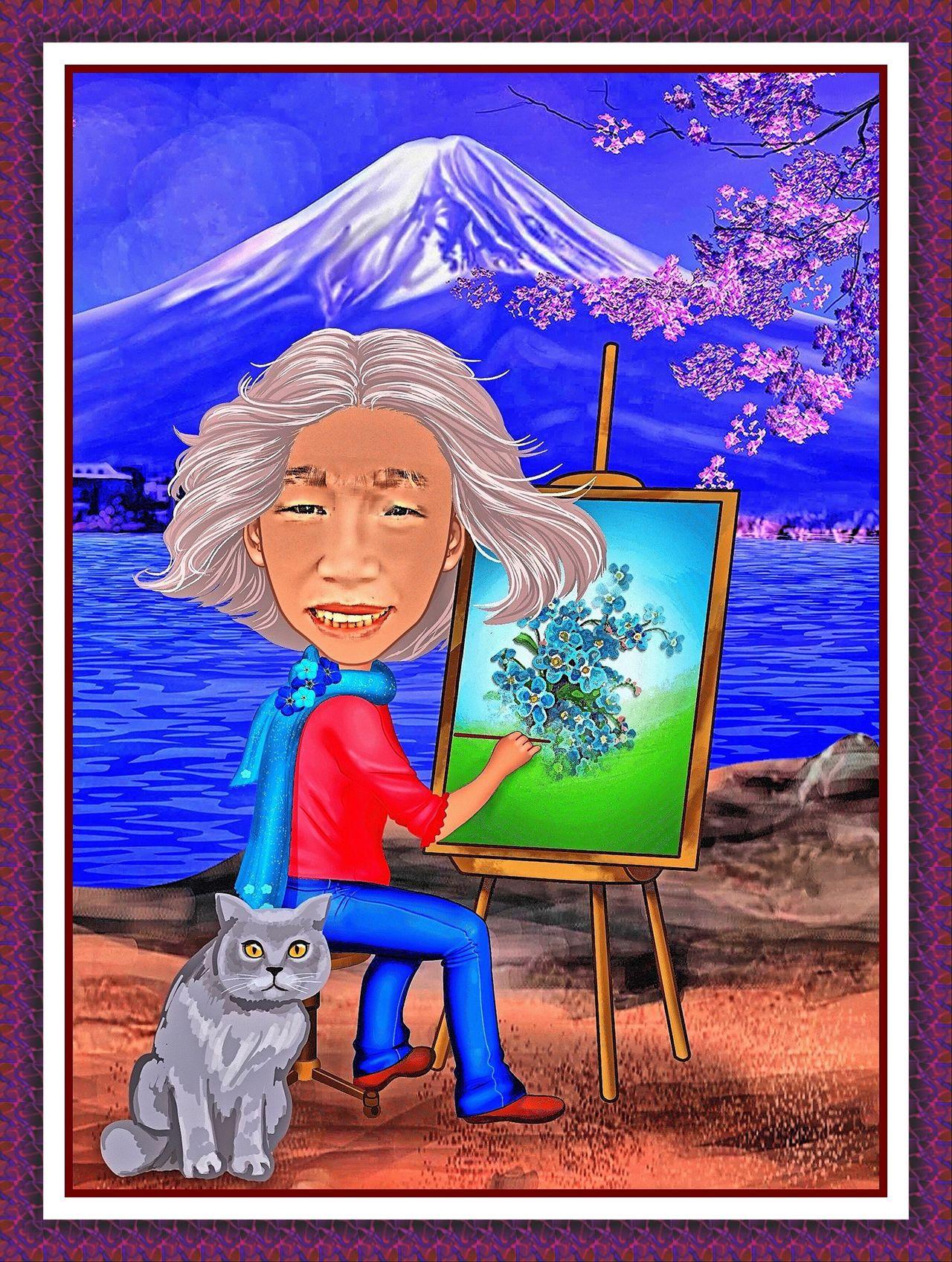 Frame Maker Pro CariCartoon (app) Japan Mt. Fuji lake Outdoors spring Cherry Blossoms artist Painter cat Yoko Painting grandma Family cartoon Caricature