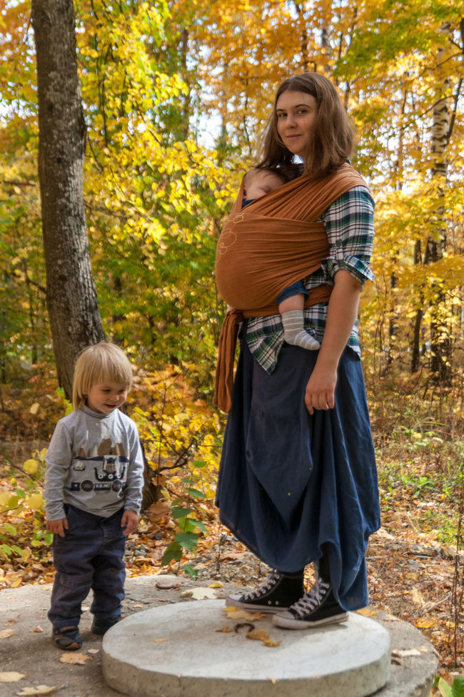 That's my family Autumn Baby Baby Sling Baby Wrap Babywearing Bonding Childhood Children Family Forest Happiness Leisure Activity Lifestyle Love Maternity Mom Mother And Son Motherhood Outdoors Parenting Real People Sling Smiling Standing Woman