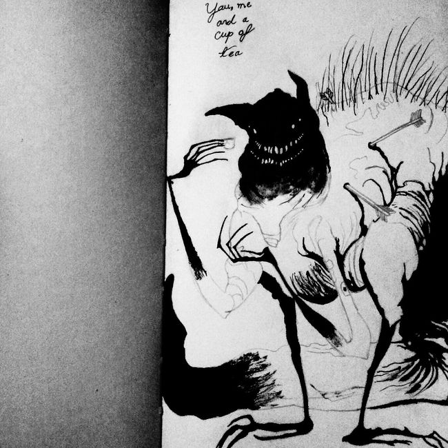 """A monster I drew late last night. """"You, me, and a cup of tea."""" Monster Tea Check This Out Dark Fairytale Ink Drawing Horror Portrait Art? Sinister Smile ☆ Sinisterhand Sinisterdevil"""